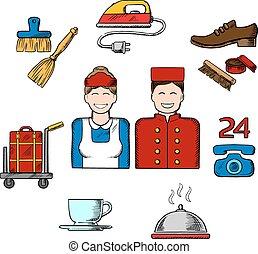 Iconos de dibujos del hotel y del servicio de habitaciones