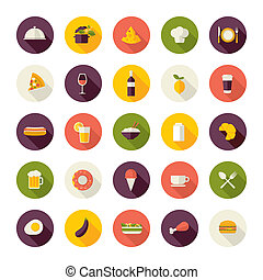 iconos de diseño plano para el restaurante