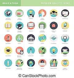 iconos de diseño plano para la educación