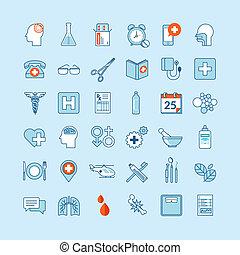 iconos de diseño plano para la medicina