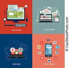 Iconos de diseño plano para la web