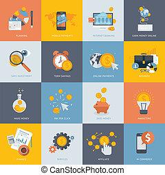 iconos de diseño plano para las finanzas