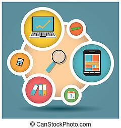 Iconos de diseño planos, ordenador