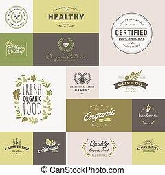 iconos de diseño planos para comida orgánica