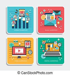iconos de diseño planos para conceptos de marketing