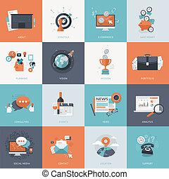 iconos de diseño planos para el negocio