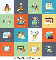 iconos de diseño planos para marketing