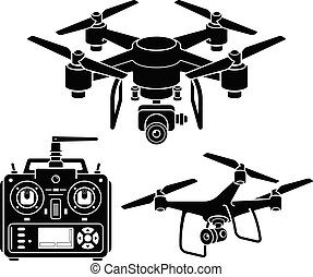 iconos de Drone Silhouette listos. Ilustración de vectores.