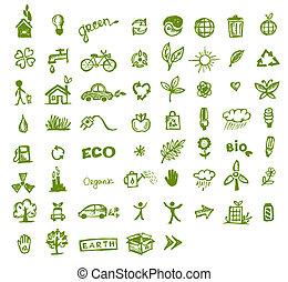 iconos de ecología verdes para tu diseño