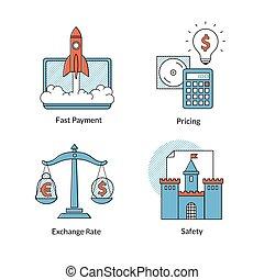 Iconos de Ecommerce, pago rápido, precios. Seguridad, rating.