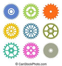 iconos de engranajes en colores planos. Vector