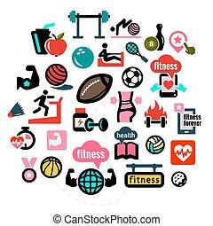 Iconos de fitness plana 1