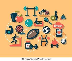 iconos de fitness planos