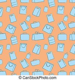 Iconos de garabato de garabatos sin costura. Ilustración de vectores. Diferentes tipos de equipaje de mano grande estilo Sketch
