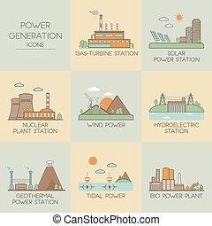 Iconos de generación de energía
