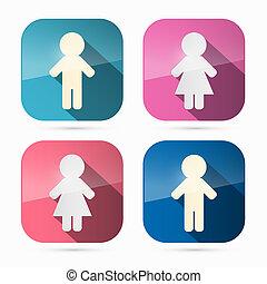 iconos de hombre y mujer, símbolos en cuadrados redondos