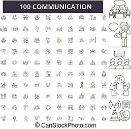 Iconos de línea de comunicación, 100 vectores, colección. Ilustraciones negras de comunicación, señales, símbolos
