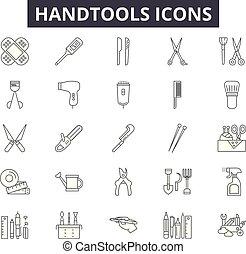 Iconos de línea de herramientas para web y diseño móvil. Signos de ataque erigibles. Cuaderno de herramientas, ilustraciones conceptuales