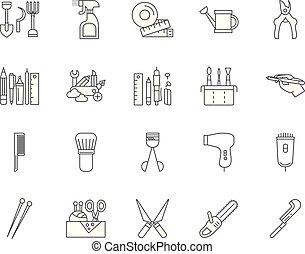 Iconos de línea de herramientas, señales, vector establecido, esquema de ilustración concepto