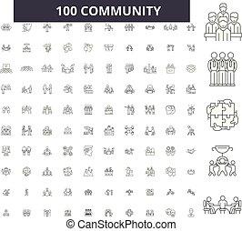 Iconos de línea de la comunidad, 100 vectores, colección. Ilustraciones en negro comunitario, señales, símbolos