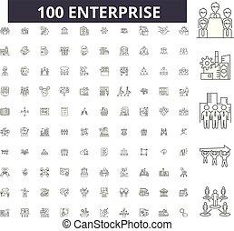 Iconos de línea de la Enterprise, 100 vectores, colección. Ilustraciones negras del Enterprise, señales, símbolos