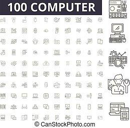 Iconos de línea editables, 100 vectores, colección. Ilustraciones de esquema negro de computadora, señales, símbolos