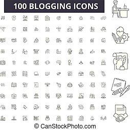 Iconos de línea editables, 100 vectores, colección. Ilustraciones negras, señales, símbolos