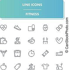 iconos de línea listos. Fitness