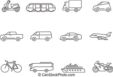 Iconos de línea, transporte