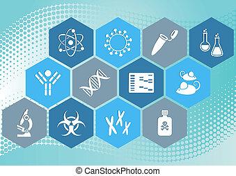 iconos de la ciencia biológica