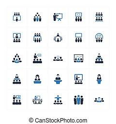 iconos de la conferencia de negocios - versión azul (set 2)