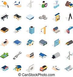 Iconos de la industria de la construcción, estilo isometrico