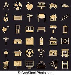 Iconos de la industria de la construcción, estilo simple