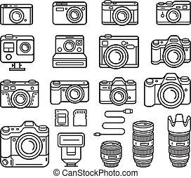 Iconos de la línea de la cámara listos. Ilustración de vectores.