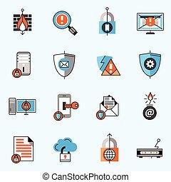 iconos de la línea de seguridad