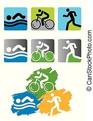 iconos de la raza Triatlon.