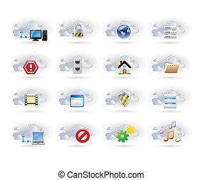 iconos de la red de nubes