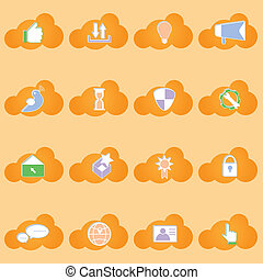 iconos de la red social con sombra en forma de nube