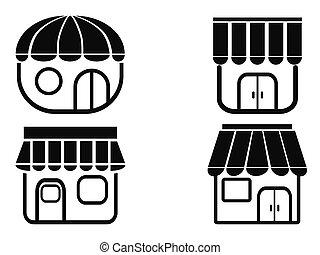 iconos de la tienda negra