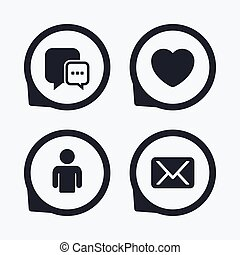 iconos de las redes sociales. Chismorreo y correo.