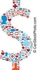 iconos de los medios de comunicación sociales en símbolo de dólar