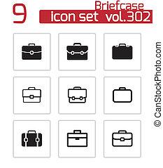 iconos de maletín negro Vector