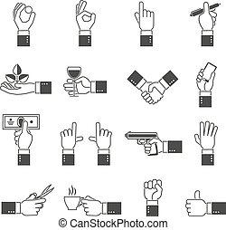 iconos de manos en negro