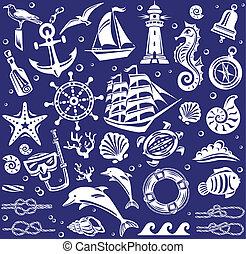 iconos de mar blanco