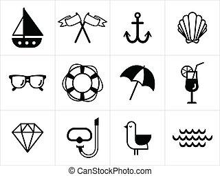 iconos de mar de verano en blanco y negro