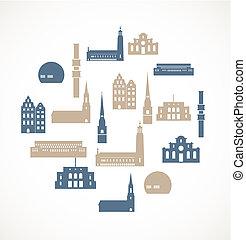 iconos de marca de tierra - Estocolmo