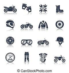 iconos de motocicleta en negro