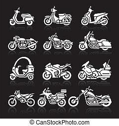 Iconos de motocicleta listos. Vector