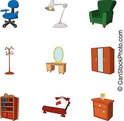 Iconos de muebles caseros, estilo de dibujos animados