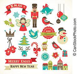 iconos de Navidad, elementos e ilustraciones